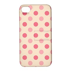 Pale Pink Polka Dots Apple iPhone 4/4S Hardshell Case with Stand
