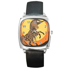 Embracing The Moon Square Leather Watch