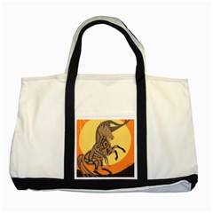 Embracing The Moon Two Toned Tote Bag
