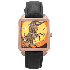 Embracing The Moon Rose Gold Leather Watch