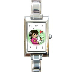 Bookcover  Copy Rectangular Italian Charm Watch