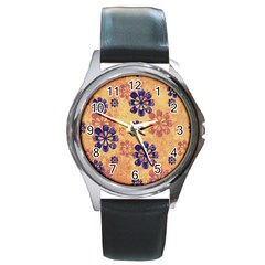 Funky Floral Art Round Leather Watch (silver Rim)