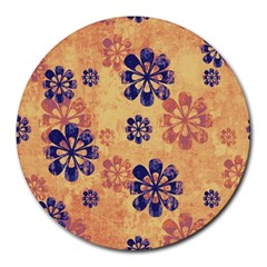 Funky Floral Art 8  Mouse Pad (Round)