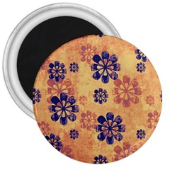 Funky Floral Art 3  Button Magnet