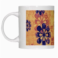 Funky Floral Art White Coffee Mug
