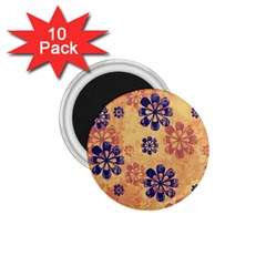 Funky Floral Art 1.75  Button Magnet (10 pack)