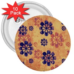 Funky Floral Art 3  Button (10 pack)
