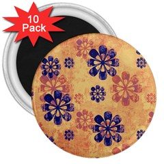 Funky Floral Art 3  Button Magnet (10 Pack)