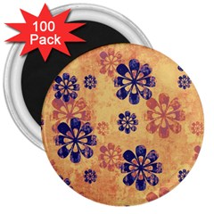Funky Floral Art 3  Button Magnet (100 Pack)