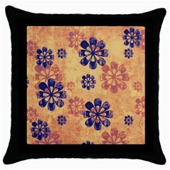 Funky Floral Art Black Throw Pillow Case