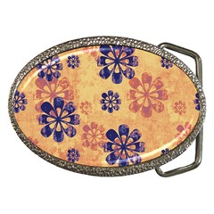 Funky Floral Art Belt Buckle (oval)
