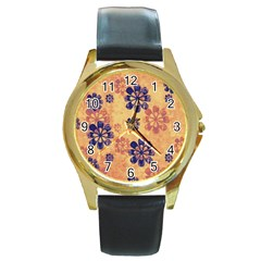 Funky Floral Art Round Leather Watch (Gold Rim)