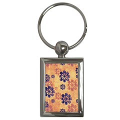 Funky Floral Art Key Chain (rectangle)