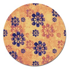 Funky Floral Art Magnet 5  (round)