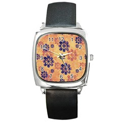 Funky Floral Art Square Leather Watch