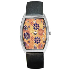 Funky Floral Art Tonneau Leather Watch