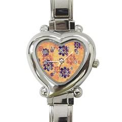 Funky Floral Art Heart Italian Charm Watch