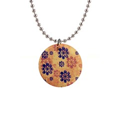 Funky Floral Art Button Necklace