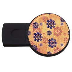 Funky Floral Art 4gb Usb Flash Drive (round)