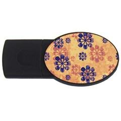 Funky Floral Art 4gb Usb Flash Drive (oval)