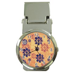 Funky Floral Art Money Clip with Watch