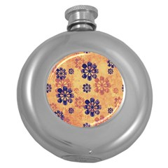 Funky Floral Art Hip Flask (Round)