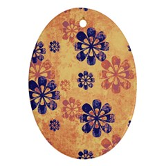 Funky Floral Art Oval Ornament (Two Sides)
