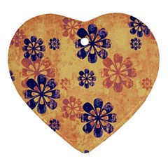 Funky Floral Art Heart Ornament (two Sides)