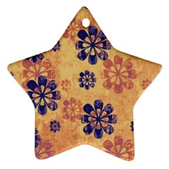 Funky Floral Art Star Ornament (Two Sides)