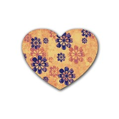 Funky Floral Art Drink Coasters 4 Pack (heart)