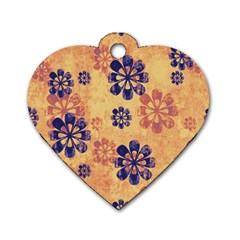 Funky Floral Art Dog Tag Heart (One Sided)