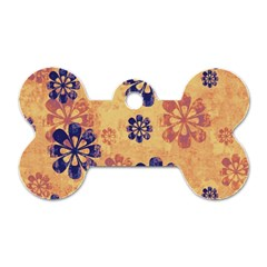 Funky Floral Art Dog Tag Bone (Two Sided)