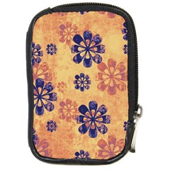Funky Floral Art Compact Camera Leather Case