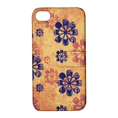 Funky Floral Art Apple Iphone 4/4s Hardshell Case With Stand