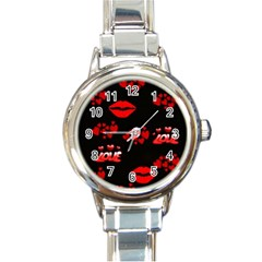 Red Hearts And Lips Round Italian Charm Watch