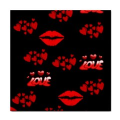 Red Hearts And Lips Tile Coaster