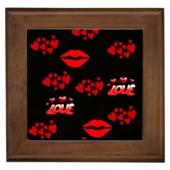 Red Hearts And Lips Framed Tile
