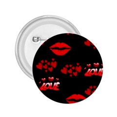 Red Hearts And Lips 2.25  Button