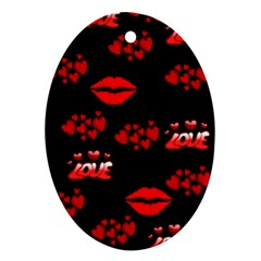 Red Hearts And Lips Ornament (Oval)