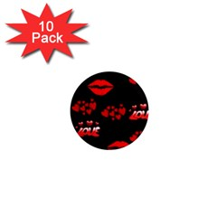 Red Hearts And Lips 1  Mini Magnet (10 pack)