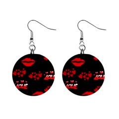 Red Hearts And Lips 1  Button Earrings