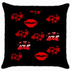 Red Hearts And Lips Throw Pillow Case (Black)
