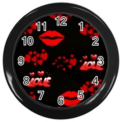Red Hearts And Lips Wall Clock (Black)