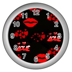 Red Hearts And Lips Wall Clock (Silver)