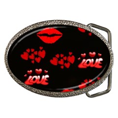 Red Hearts And Lips Belt Buckle