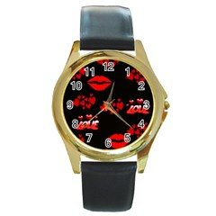 Red Hearts And Lips Round Gold Metal Watch