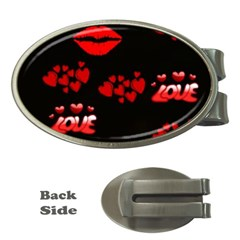 Love Red Hearts Love Flowers Art Money Clip (oval)