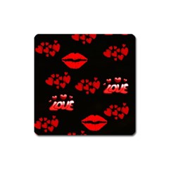 Love Red Hearts Love Flowers Art Magnet (square)