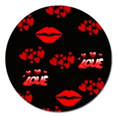 Love Red Hearts Love Flowers Art Magnet 5  (round)