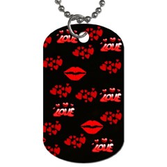 Love Red Hearts Love Flowers Art Dog Tag (One Sided)